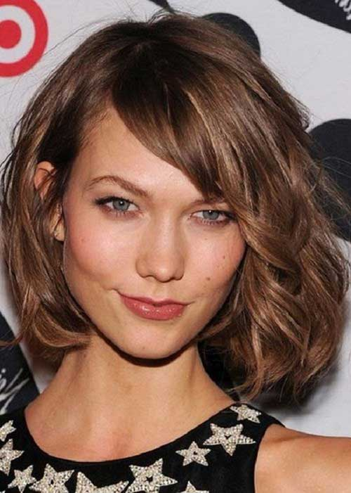 Side Swept Wavy Chin Length Bob Hair