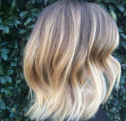 Soft Blonde Balayage Wavy Bob Hair
