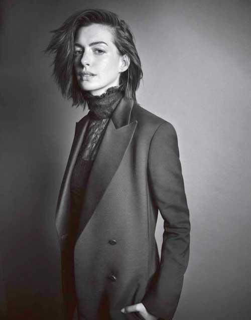 Anne Hathaway Tousled Bob Haircut