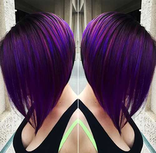 Long Bob Dark Purple Hair Color