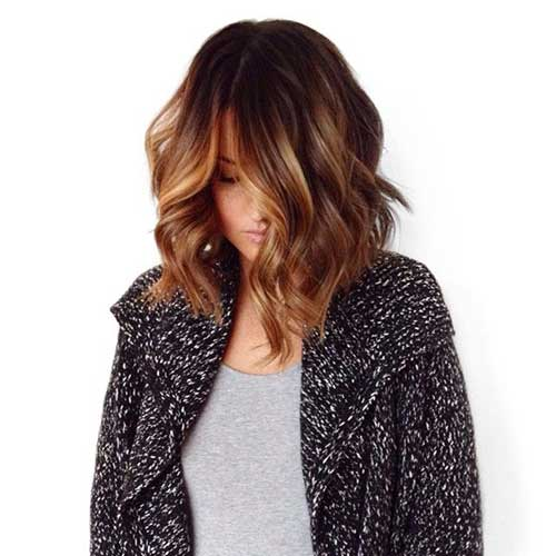Wavy Long Bob Hair with Balyage Styles