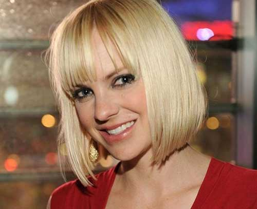 Best Blonde Hair Blunt Bob with Bangs