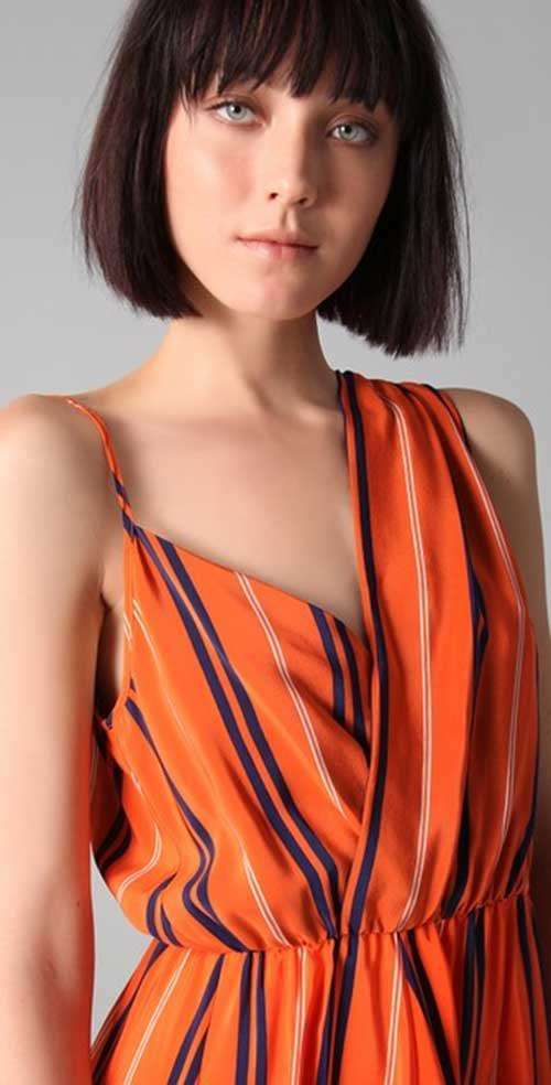 Best Blunt Line Bob Hairstyles with Bangs