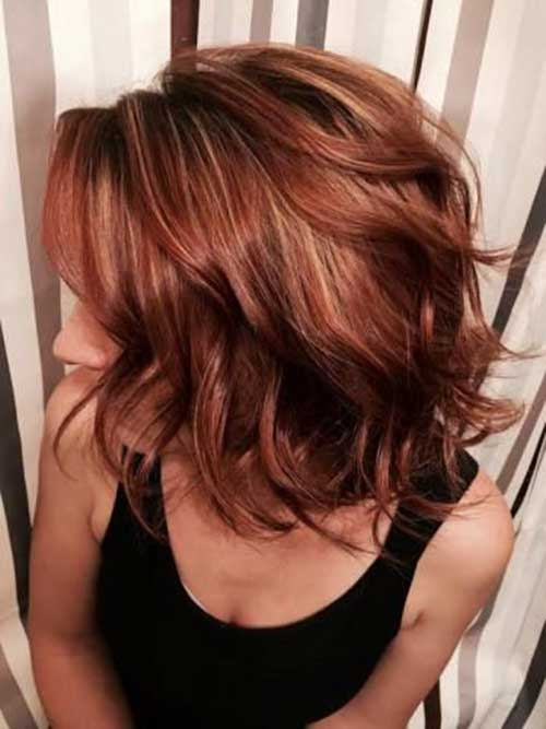 Brunette Red Lob Hairstyles
