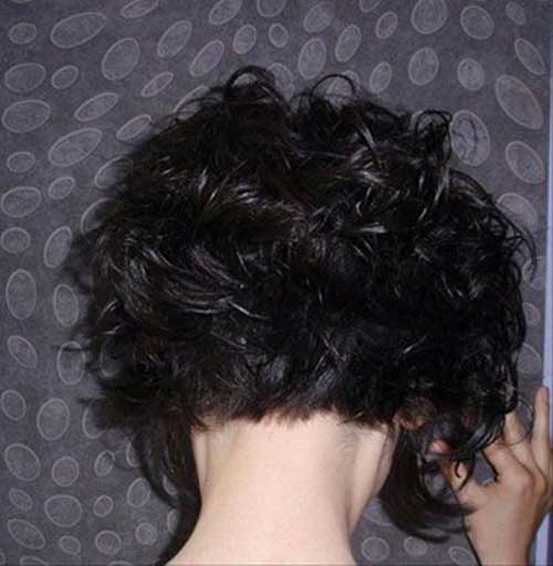 Curly Dark Bob Hair From The Back
