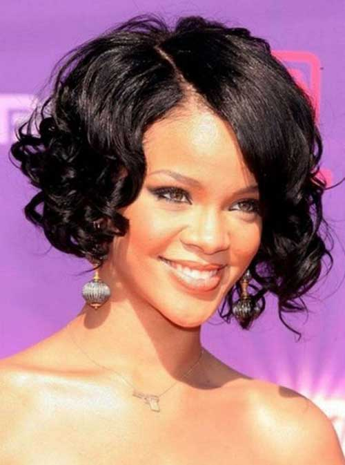 Curly Dark Bob Hairstyles for Black Women
