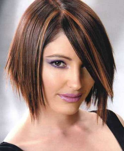 Dark Brown Bob Hair with Highlights