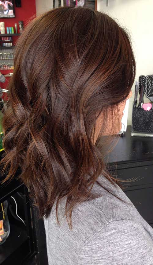 Dark Brown Long Wavy Bob Styles