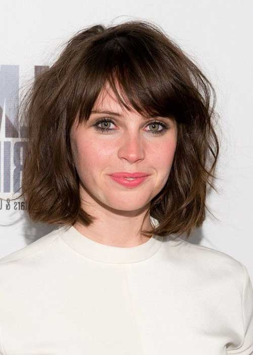 Felicity Jones Short Hair Bob with Bangs