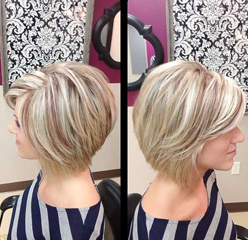 High Low Platinum Blonde with Lowlights Bob Styles