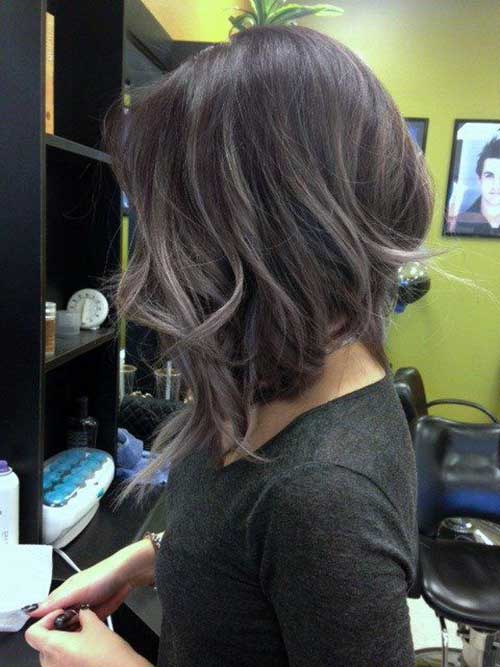 Inverted Bob Hair Lavender Highlights