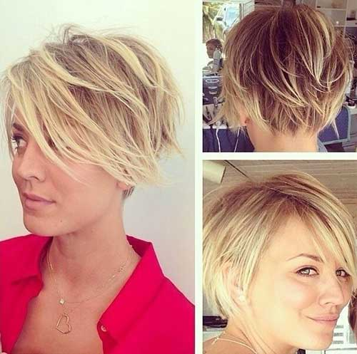 Kaley Cuoco Layered Pixie Bob Cut