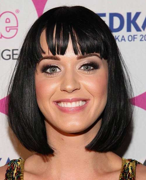 Katy Perry Short Black Bob Hair with Bangs