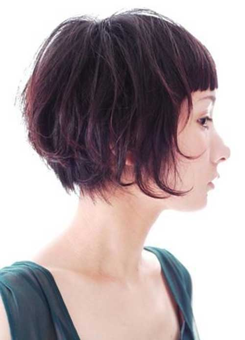 Layered Messy Bob Hair with Bangs