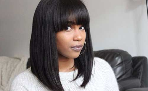 Best Long Bob with Bangs for Black Women