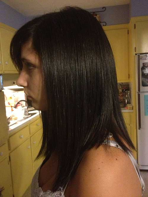 Longer Dark Brown Bob Straight Hair Styles