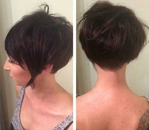 Dark Pixie Bob Haircut Back View