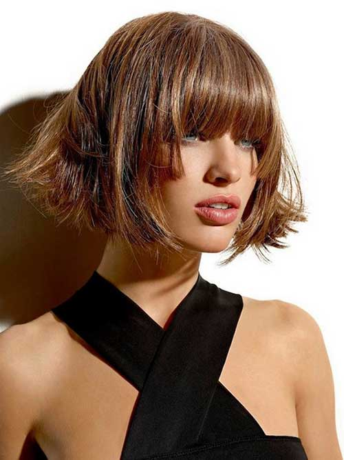 Chic Short Bob Cut Hair with Bangs
