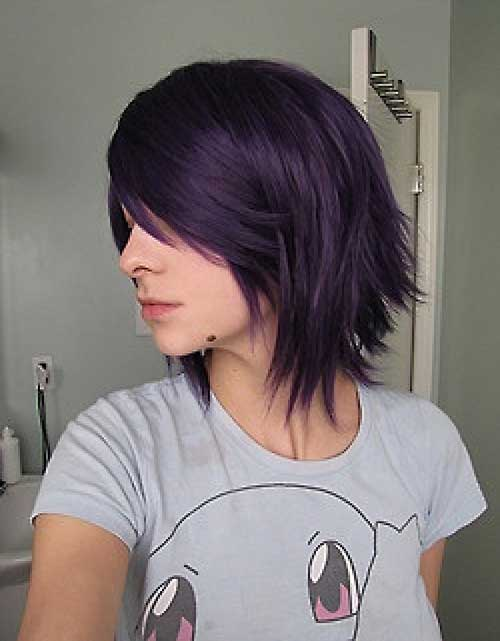 Short Dark Purple Bob Hair