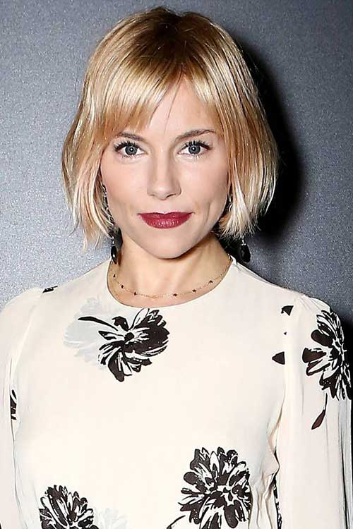 Sienna Miller Blunt Bob with Bangs