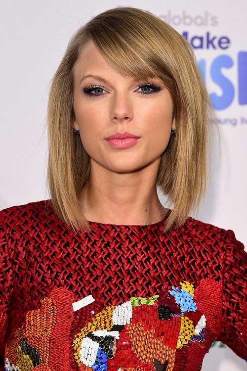 Taylor Swift Bob with Bangs 2015