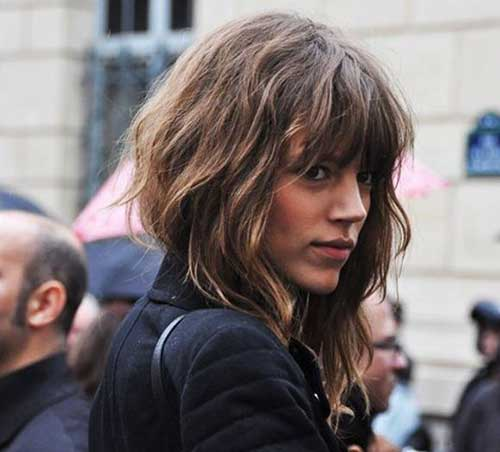 Wavy Messy Angled Bob with Bangs
