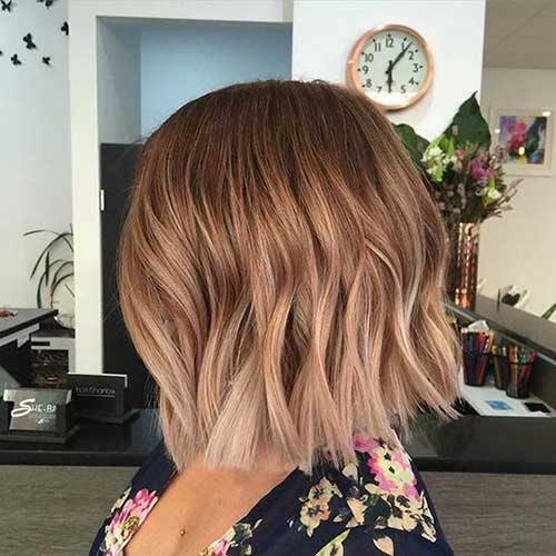 Wavy Ombre Bob Haircut Styles