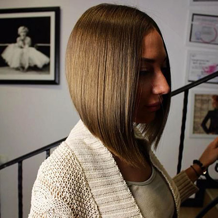Bob Blunt Angled Up Short Red Inverted Highlights Cute Cropped
