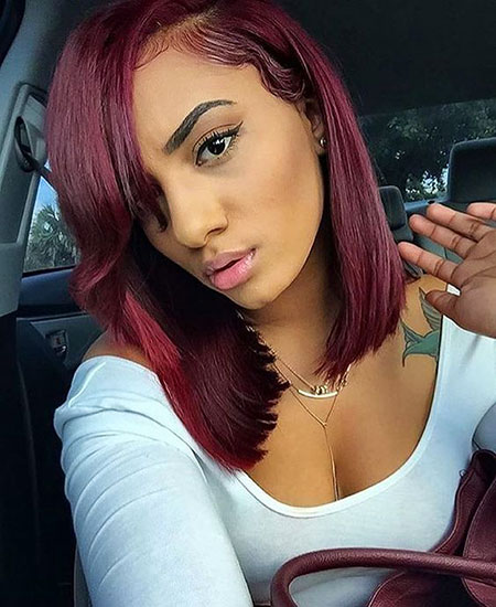 Red, Burgundy, Black, Women, Wine, Weaves, Side, Girl, Deep