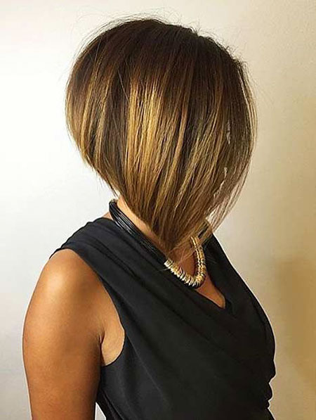 Bob Short Inverted Bobs Long Knot Graduated Balayage