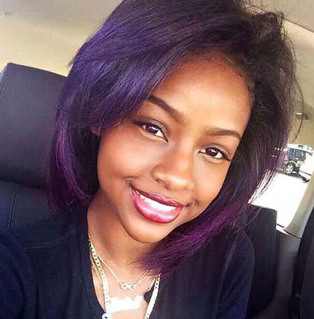 Black Women Short Purple Bob Girl Female 2017