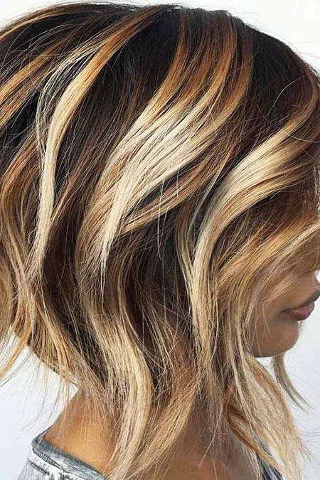 Balayage Blonde Highlights Bob Trendy Stacked Short Sassy