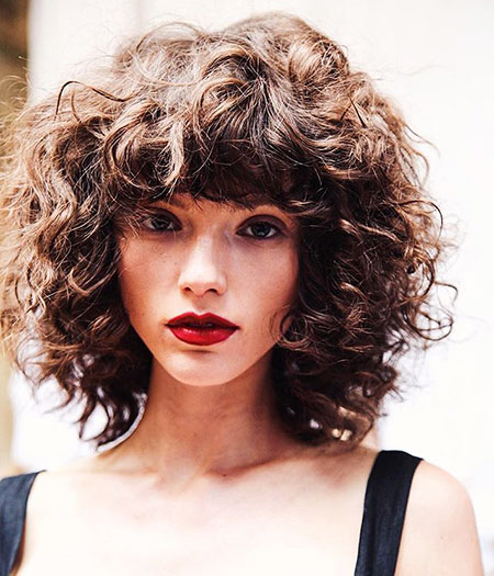 Curly Short Round Naturally Curls Bangs All