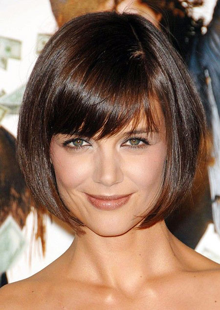 Bob Short Katie Holmes Bangs Years Women Very Over One