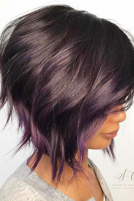 Bob Stacked Purple Pixie Trendy Sassy Length Layered