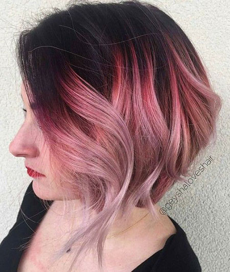 Pink Gold Wavy Short Rose Ombre Bob Black Thin