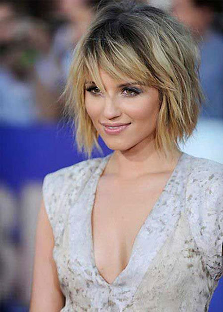 Short Bob Layered Bangs Choppy Dianna Agron 2017 20
