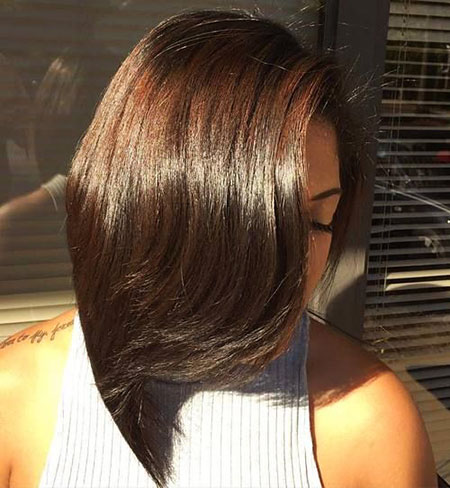 Bob, Long, Women, Black, Angled, Layers, Layered