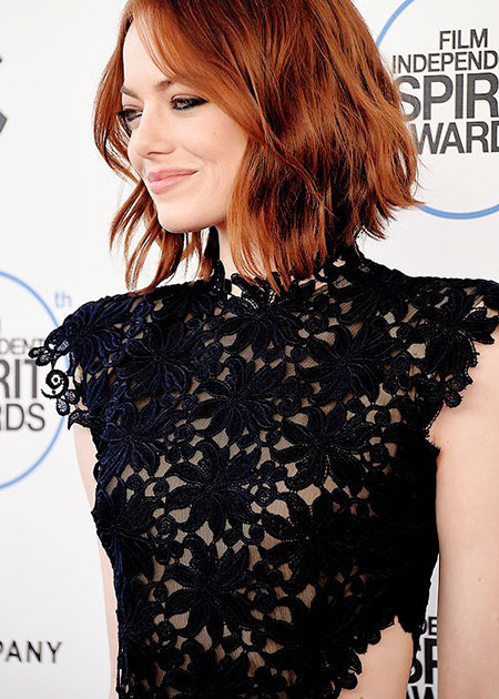 Emma Stone Wavy Under Short People Lace Free Female Bob