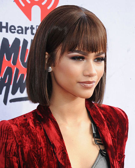 Bangs Bob Sleek Zendaya Smooth Light Length Fashion Easy
