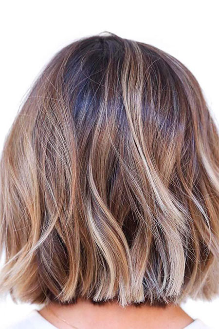Balayage Bob Medium Highlights Brown Blonde Women