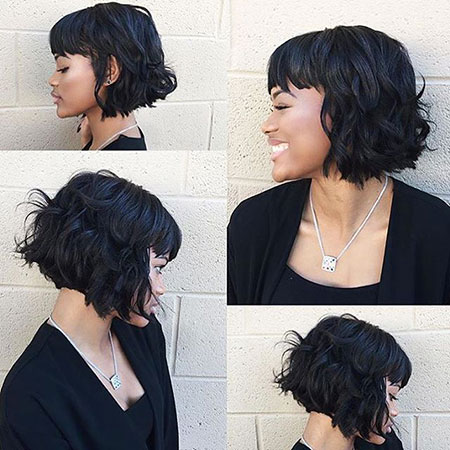 Short Bob Wavy Taper Lob Bobs Bangs