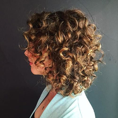 Curly Medium Brown Bob Some Short Long Layers