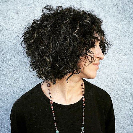 Curly Short Bob Highlights Wavy Up Streaks Silver Gray