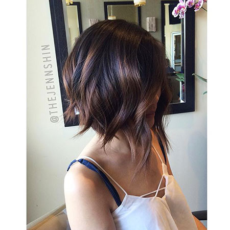 Highlights Brunette Bob Dark Brown Waves Texture Short Little Light