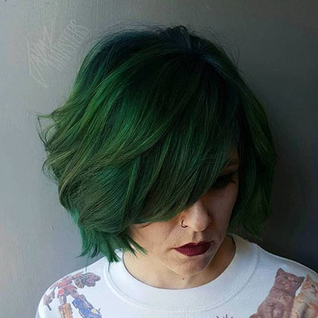 Bob Short Bangs Work Side Shaggy Shag Modern Layers Green Cute Classy