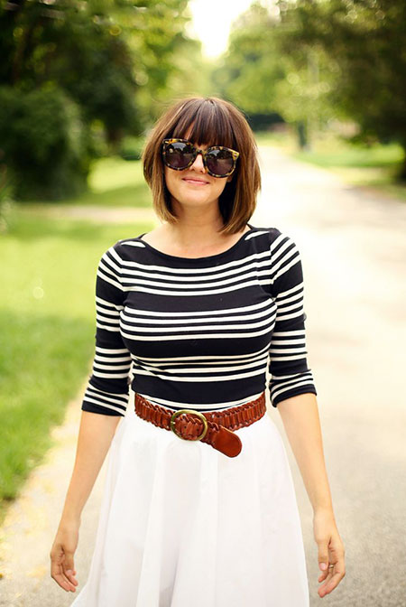 Bangs Stripes Moon Half Bob Short Navy Jessica