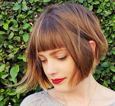 Short Bob Bangs Wavy Long Bobs