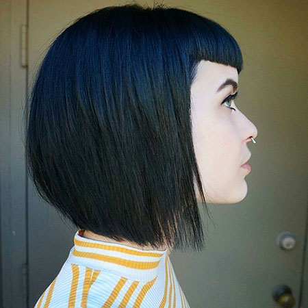 Bob Black Up Sleek Short Inverted Fun Fringe Bobs Bangs