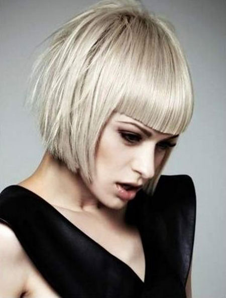 Bob Short Platinum Bangs Length Chin Blunt Blonde